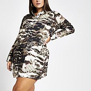 Plus – Braunes, langärmeliges Blusenkleid mit Print