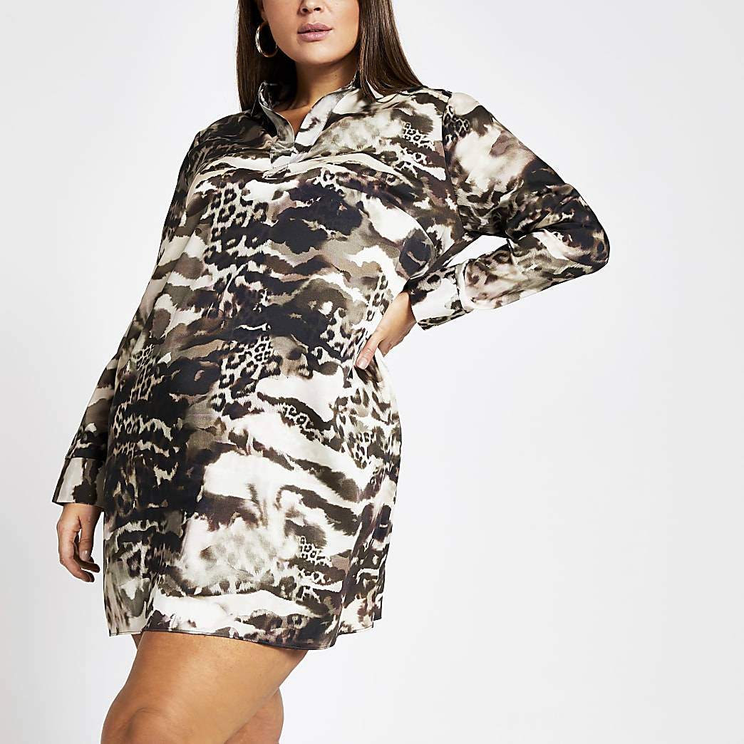 Plus brown printed long sleeve shirt dress