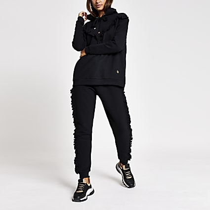 Black frill front ribbed joggers