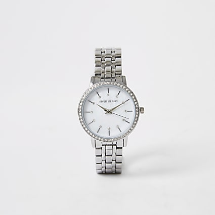 Silver colour diamante face watch