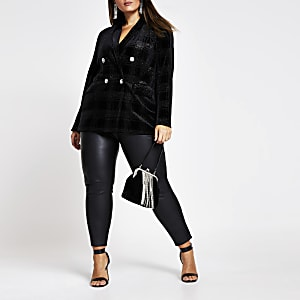 RI Plus - Zwarte fluwelen geruite double-breasted blazer