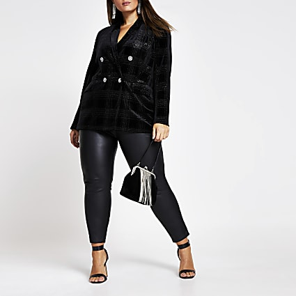 Plus black velvet check double breast blazer