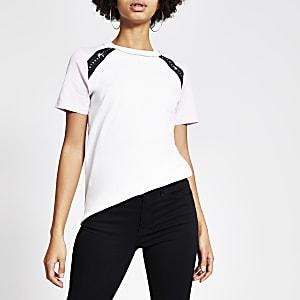 Maison Riviera - Wit T-shirt met kleurvlakken