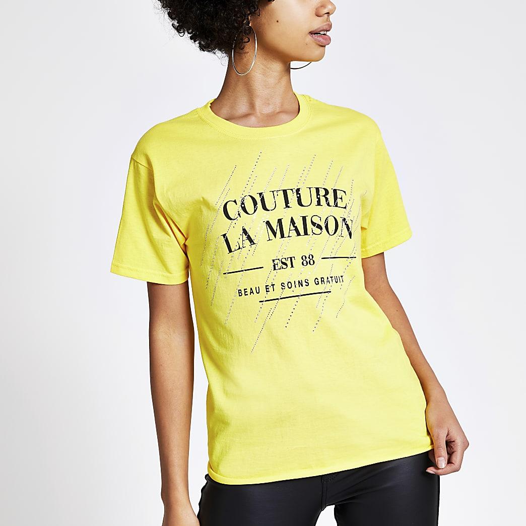 Geel T-shirt met print, siersteentjes en korte mouwen