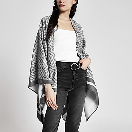 Grey RI monogram print cape