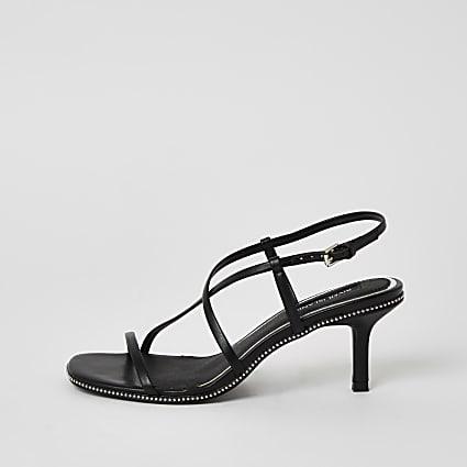 Black beaded strappy low heel sandals