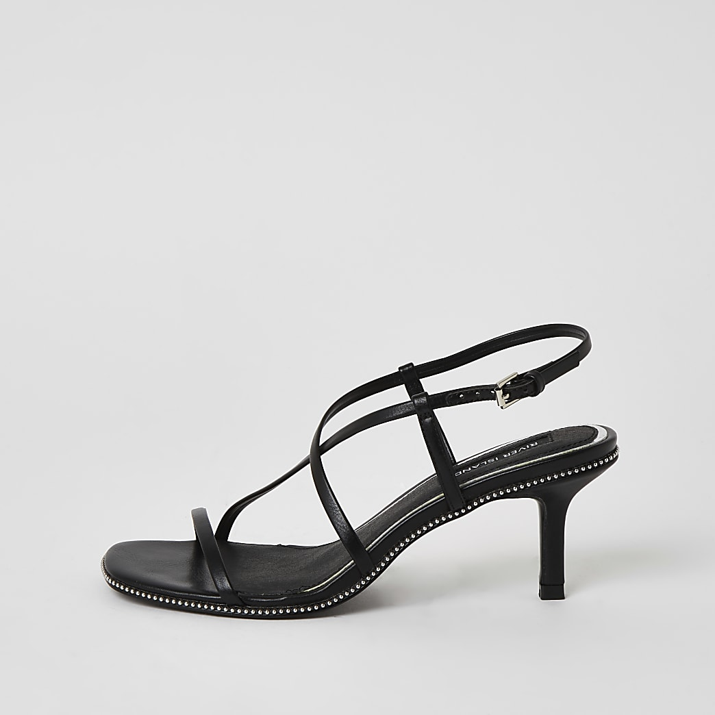 Black beaded strappy low heel sandals