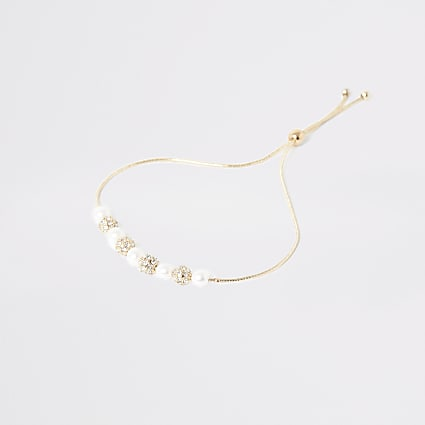 Gold pearl diamante beaded bracelet
