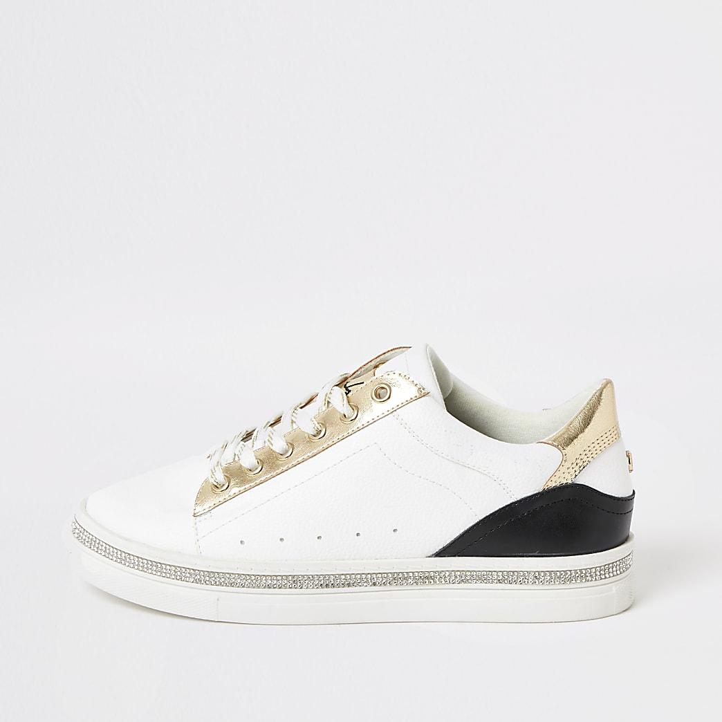 Witte sneakers met vetersluiting en verfraaid met siersteentjes