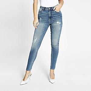 Hailey – Blaue Skinny Jeans mit hohem Bund im Used-Look