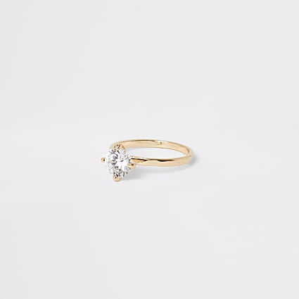 Gold diamante jewel ring