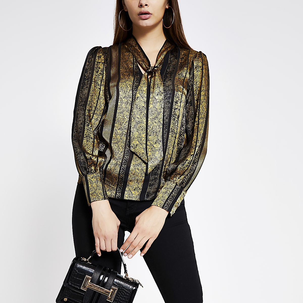 Gold printed tie neck long sleeve blouse