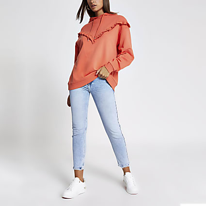 Orange frill ribbed long sleeve hoodie