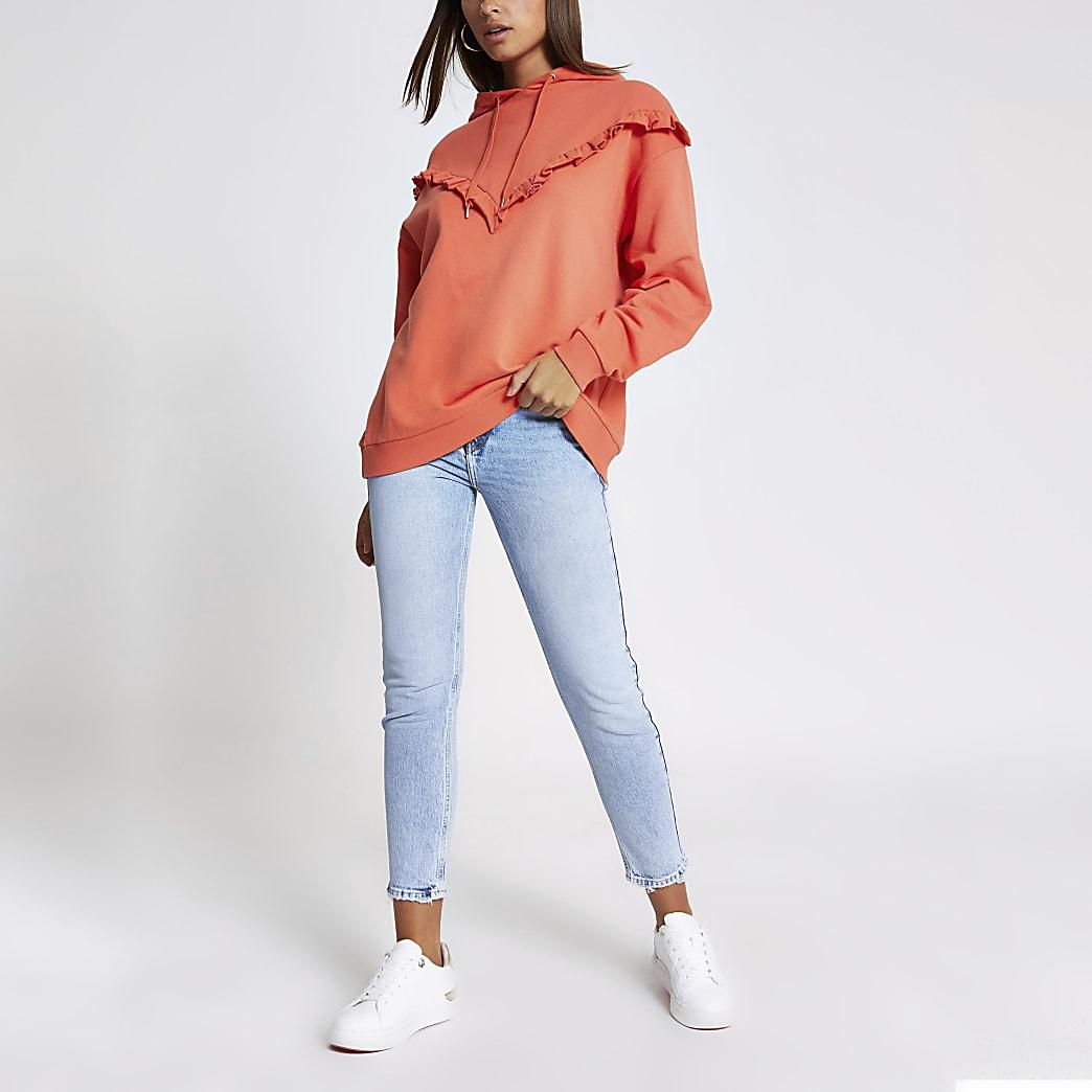 Oranje geribbelde hoodie met ruches en lange mouwen