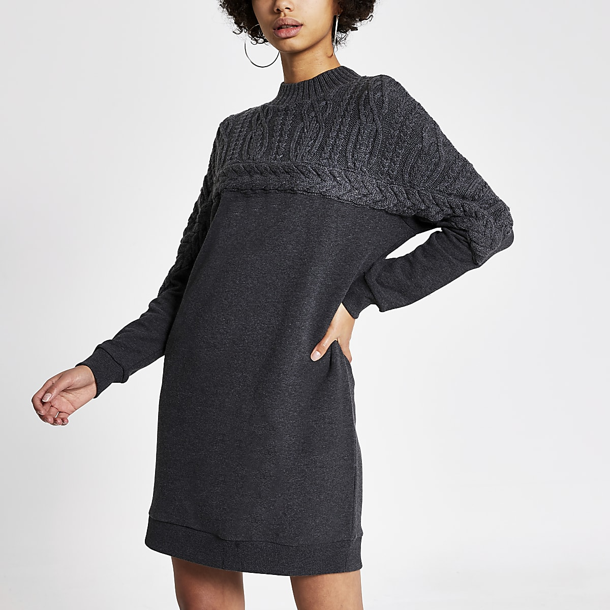 Grey cable knitted sweatshirt dress