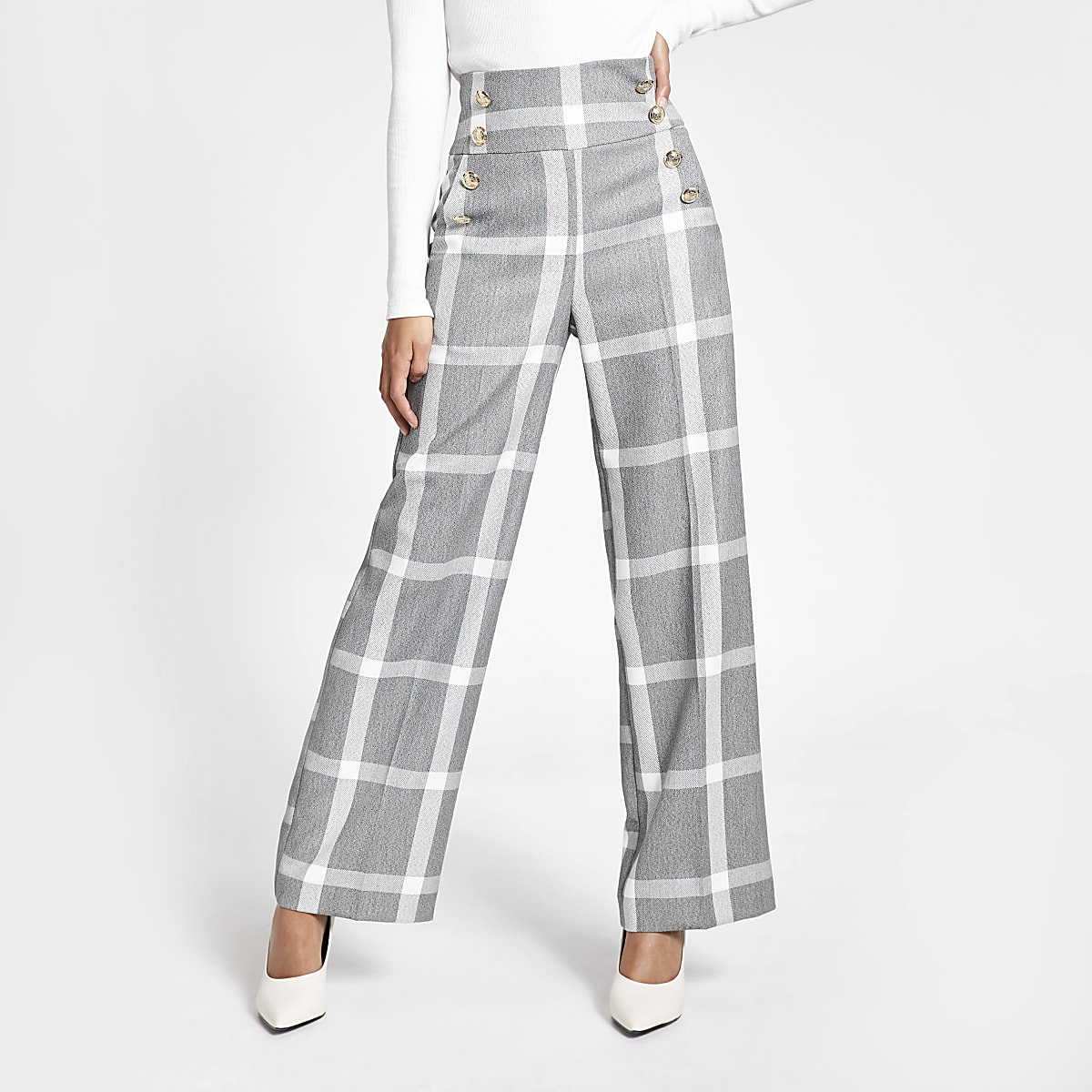 Grey check button front wide leg trousers