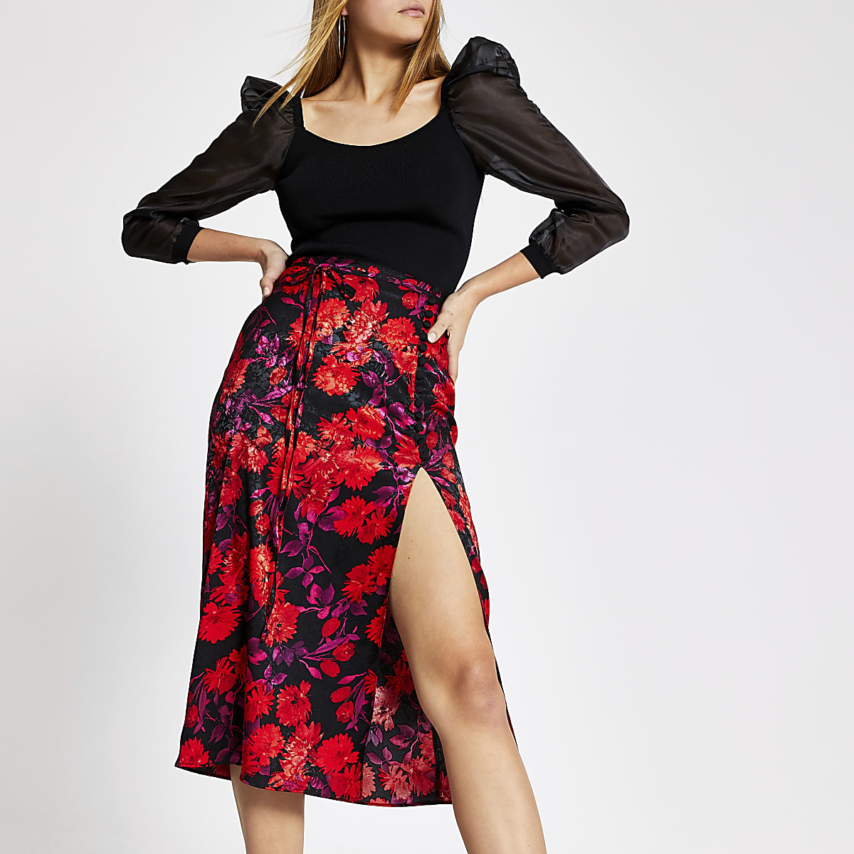 Black floral jacquard button midi skirt