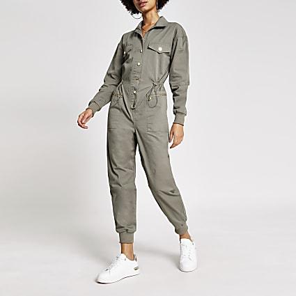 Green drawstring waist boiler jumpsuit