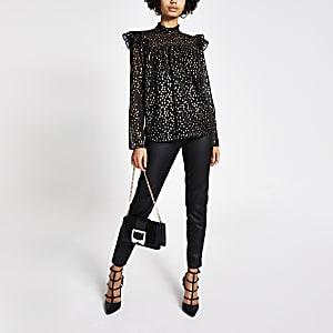 Schwarze, gesmokte Bluse mit goldenem Print