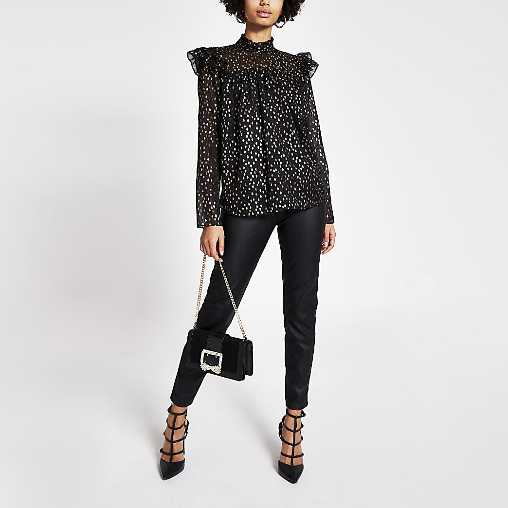 Zwartgouden gesmokte blouse met print