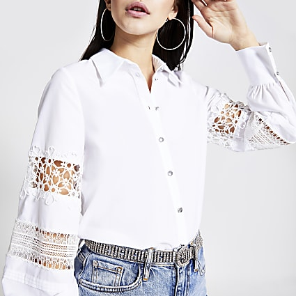 White lace balloon sleeve shirt