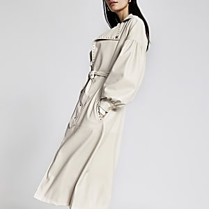 White faux leather studded belt trench coat
