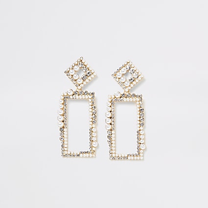 Gold colour embellish ractangle drop earrings