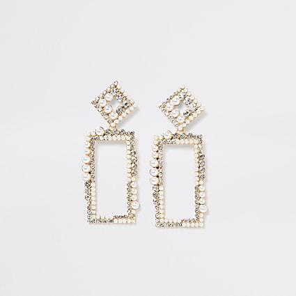 Gold colour embellish ractangle drop earrings