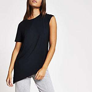 T-shirt premium en jersey noir avec ourlet asymétrique