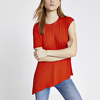 Orange asymmetric sleeve premium T-shirt