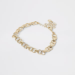 Bracelet de cheville doréavec anneauxà strass