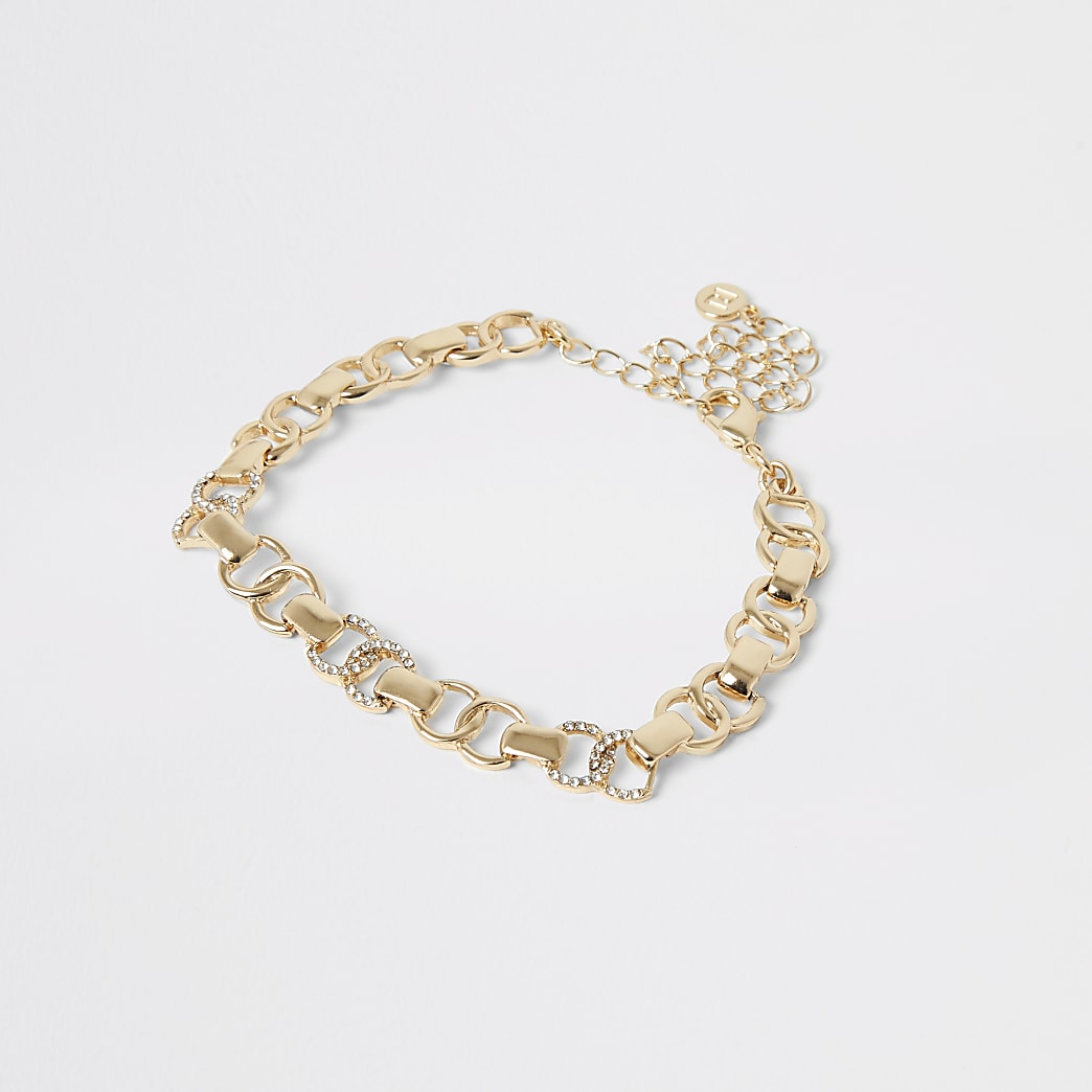 Gold colour diamante circle anklet