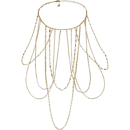 Gold colour chain and diamante drape necklace