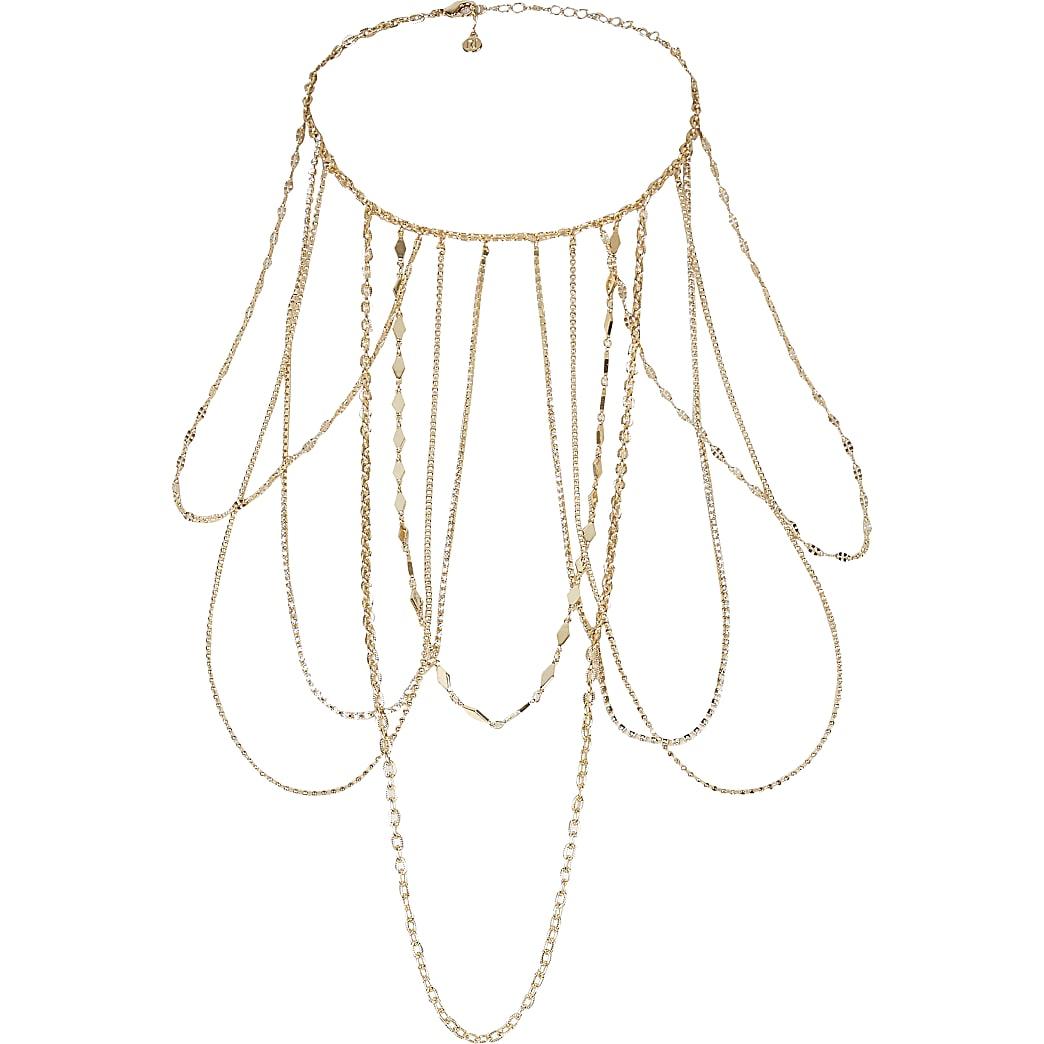 Collier doréavec drapé de chaînes