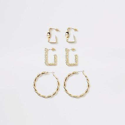 Gold colour textured hoop earrings 3 pack