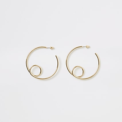 Gold colour looped hoop earrings