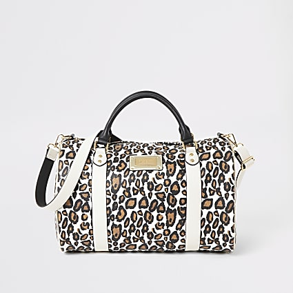 Beige leopard print duffle weekend bag
