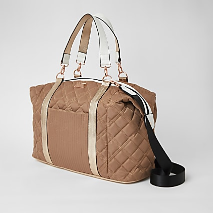 Rose gold quilted weekend duffle bag