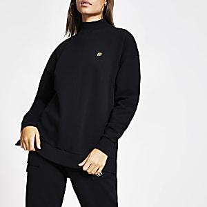 Schwarzes Longline-Sweatshirt mit hohem Kragen