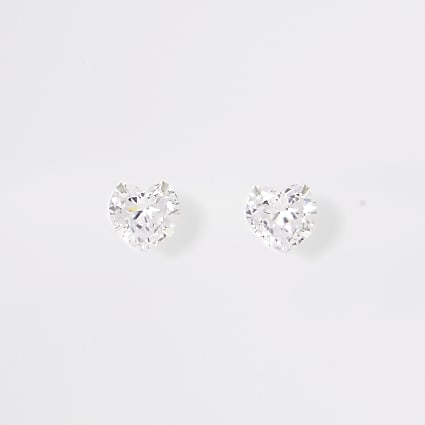 Silver tone heart diamante stud earrings