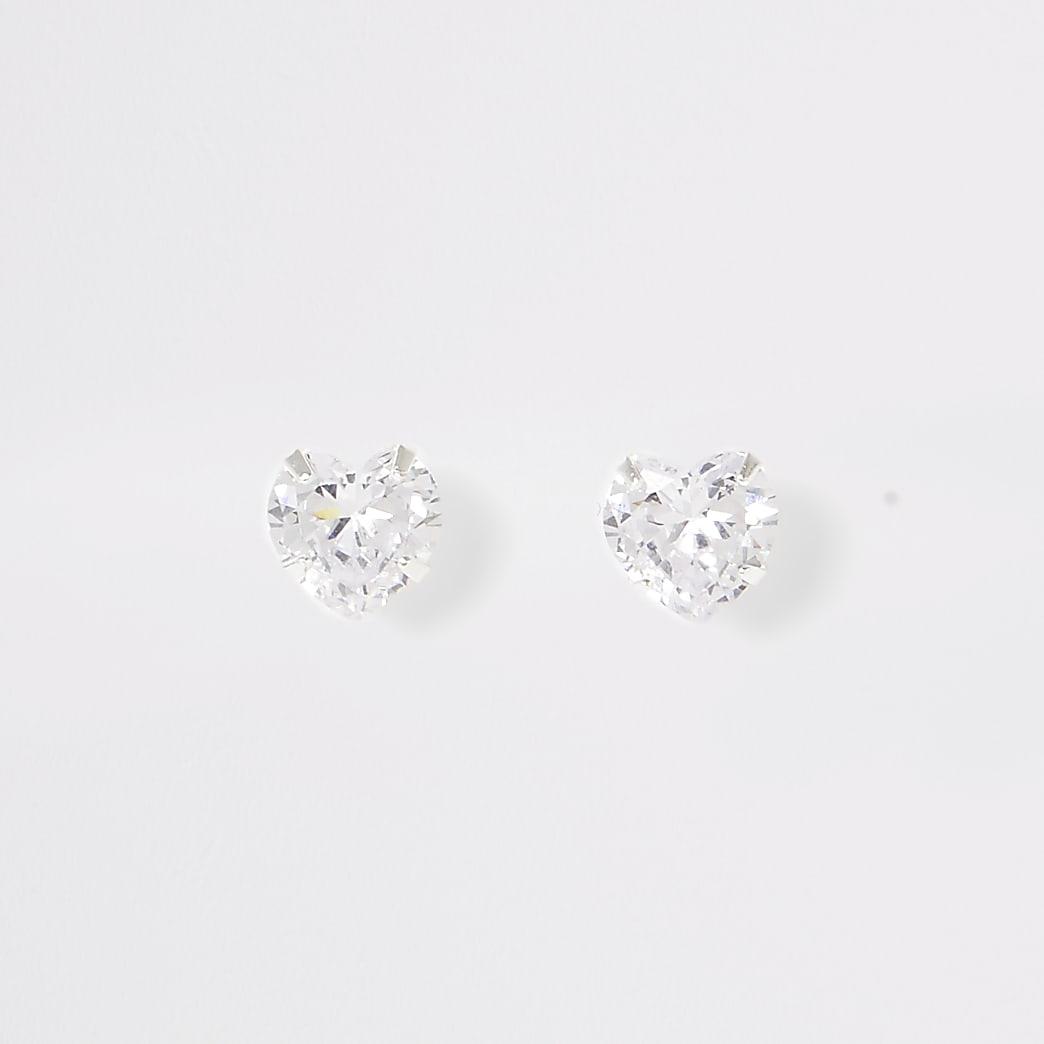 Silver tone heart diamante stud earrings