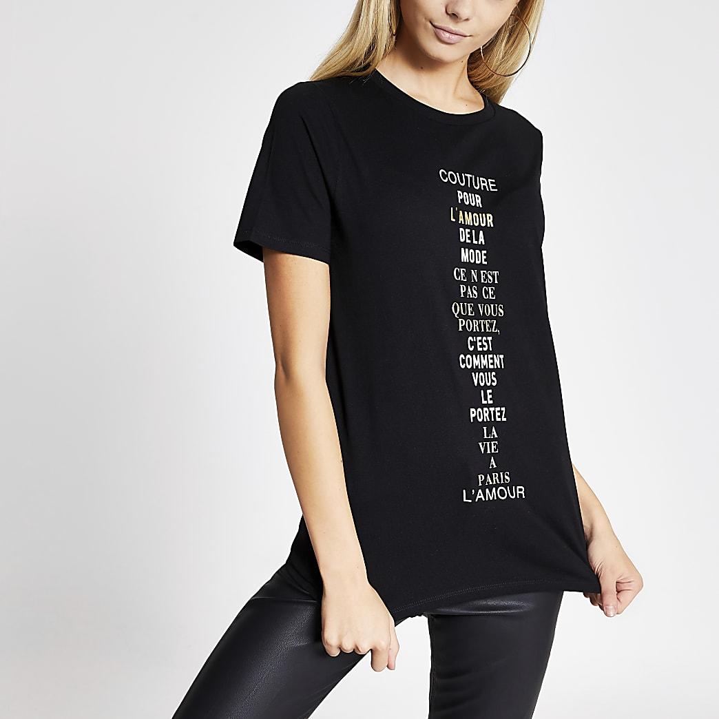 Zwart T-shirt met print, eenvoudige pasvorm en korte mouwen