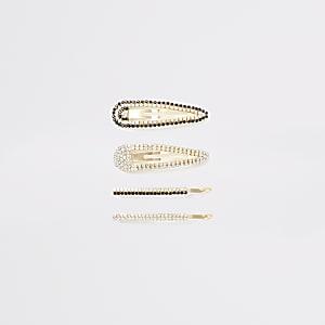 Strassverzierte Haarspangen in Gold im4er-Pack