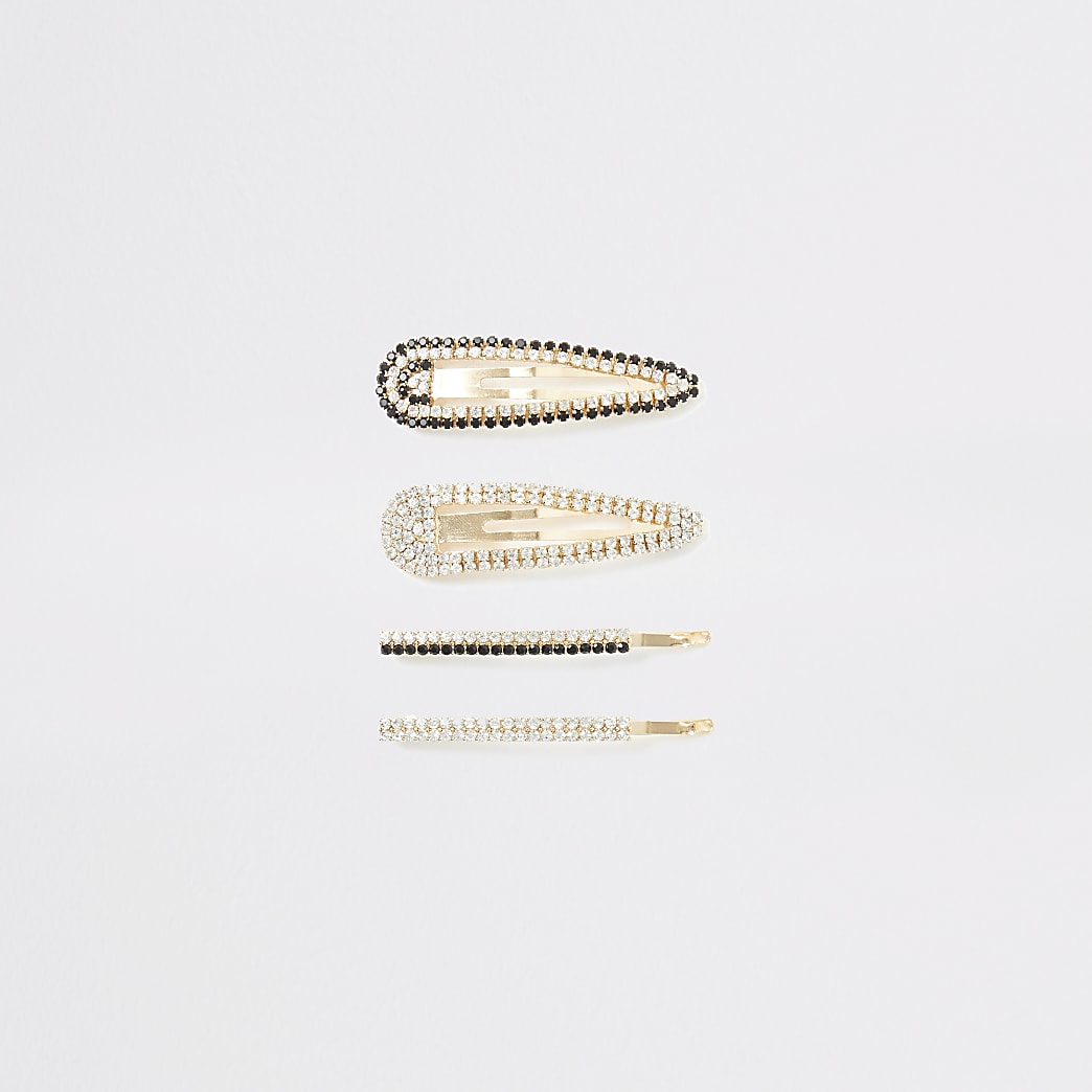 Gold diamante embellished hair clip 4 pack