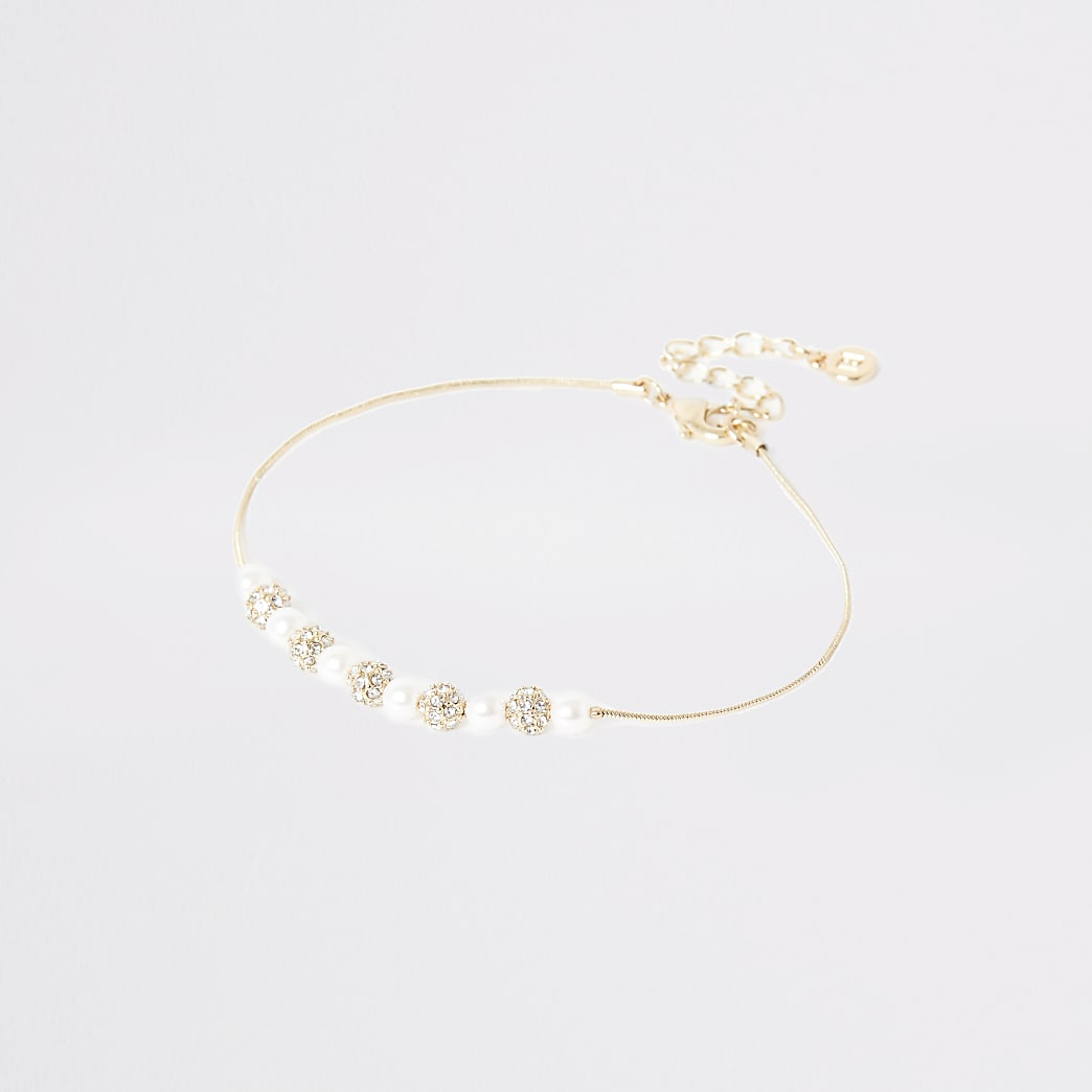 Gold pearl diamante beaded anklet