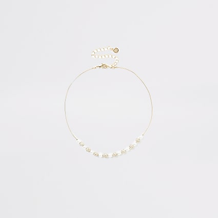 Gold pearl diamante beaded choker necklace