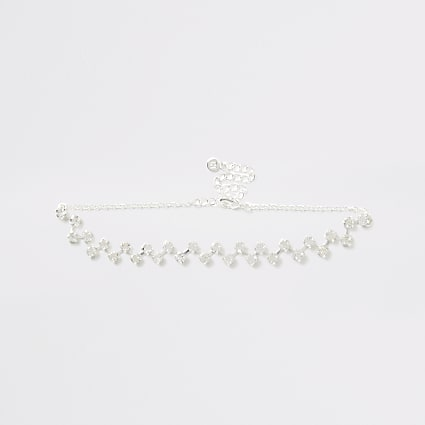 Silver zig zag diamante choker necklace
