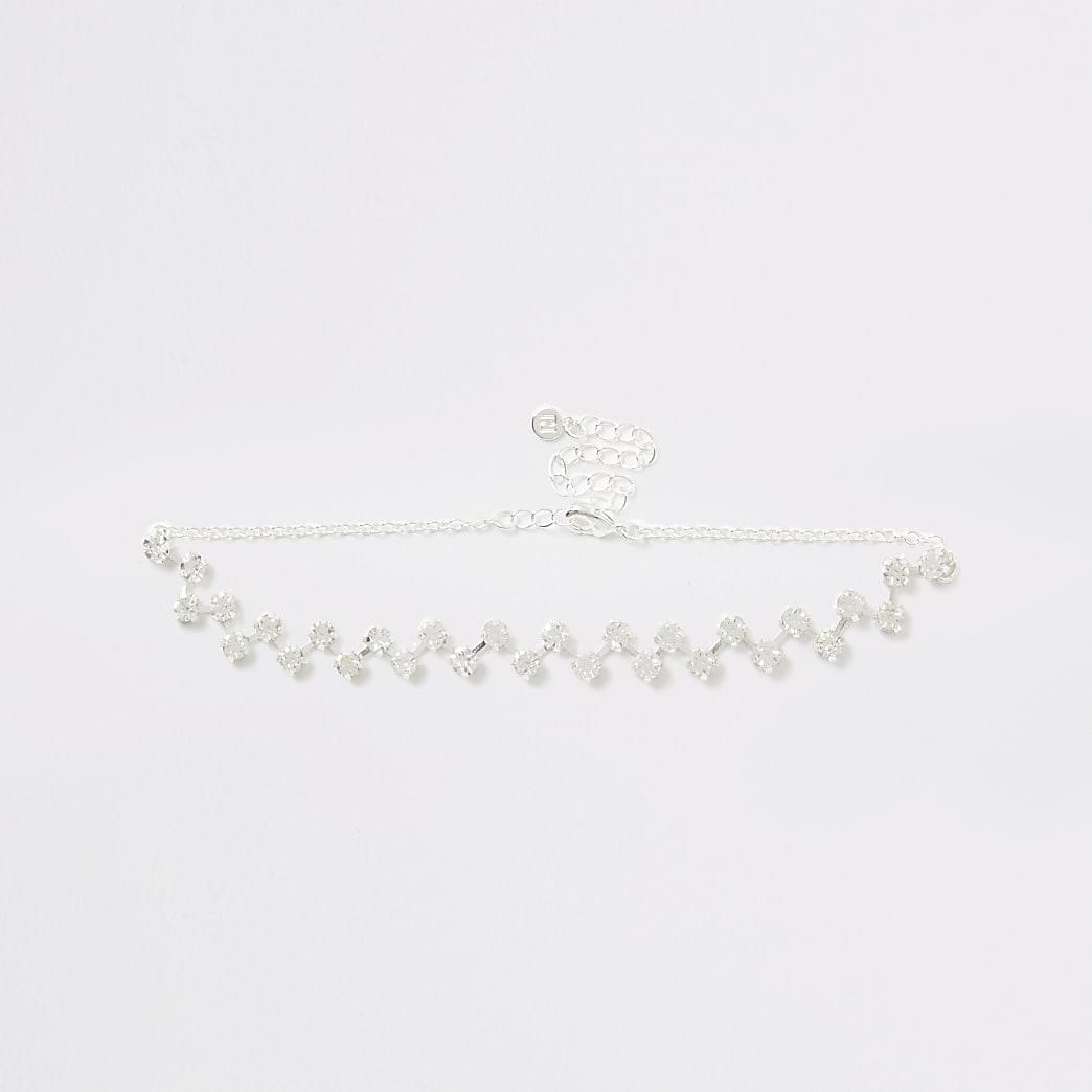 Silver zig zag diamante choker necklace