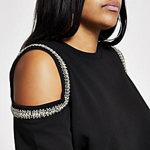 Plus – Schwarzes Sweatshirt mit Schulterausschnitten mit Verzierung