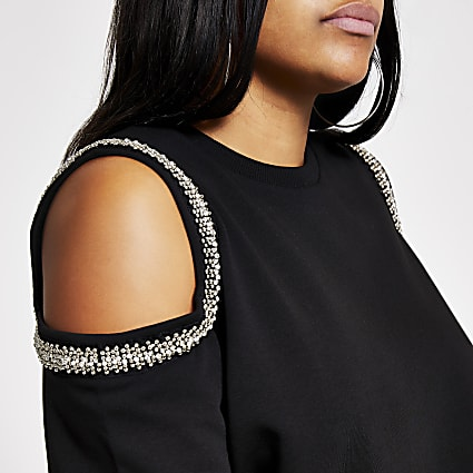 Plus black embellish cold shoulder sweatshirt